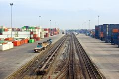 Container area in blue sky Stock Photo