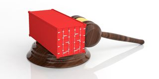 Container on an auction gavel. 3d illustration Royalty Free Stock Photos