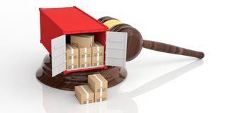 Container on an auction gavel. 3d illustration Stock Photos