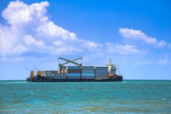 Container Barge. Business logistics, Import and Exports. stock images