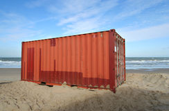 Container on the Beach Royalty Free Stock Photos
