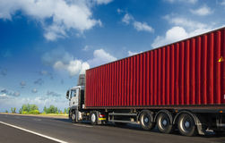 Container on the big highway Stock Image
