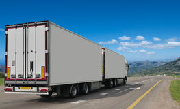 Container on the big highway. Stock Image