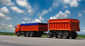 Container on the big highway. Stock Images