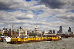 Container Boat on River Thames Stock Photo