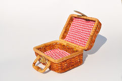 Container; box, open, square. Bag for a picnic or trip to the sea, locking clasp, braided and light Royalty Free Stock Image
