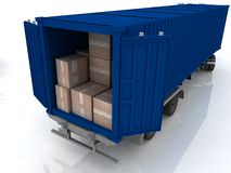 Container with boxes Royalty Free Stock Photography