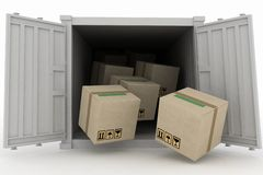 Container with boxes. 3d illustration  on white background Stock Images