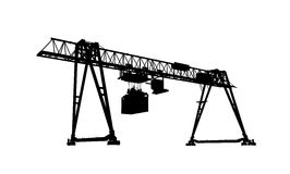 Container bridge crane, silhouette isolated on white. Container bridge gantry crane. Black silhouette isolated on white background, 3d model rendering Royalty Free Stock Photo