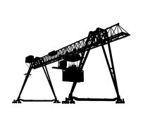 Container bridge gantry crane. Black silhouette isolated Stock Photo