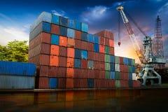 Container cargo with crane Stock Photos