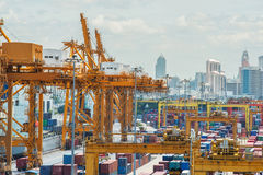 Container Cargo in dock for import export Stock Image
