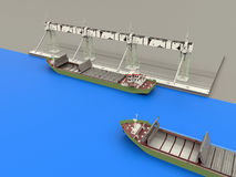Container cargo freight ship in dock. 3D render of two container cargo freight ships close to a dock Stock Photos