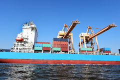 Container Cargo freight ship for Logistic Import Export background Royalty Free Stock Image