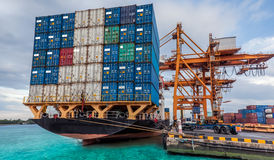 Container Cargo Freight Ship With Working Crane Loading Royalty Free Stock Photos