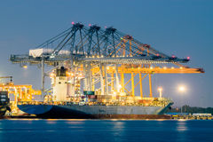 Container Cargo freight ship with working crane bridge in shipyard at dusk Stock Photography