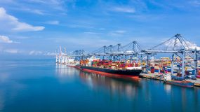 Free Container Cargo Ship At Industial Port In Import Export Business Logistic And Transportation Of International By Container Cargo Stock Photography - 161178002