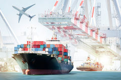 Container Cargo ship and Cargo plane for logistic import export background. And transport industry Royalty Free Stock Photo