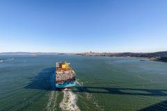 Container Cargo Ship entering San Francisco Bay - San Francisco, California, USA Stock Images