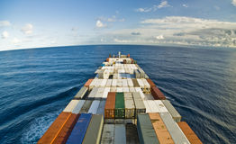 Container Cargo Ship and horizon Royalty Free Stock Photography