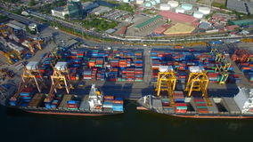 Container cargo ship, import export, business logistic supply chain transportation concept. BANGKOK THAILAND - DECEMBER 27: container cargo ship, import export stock video