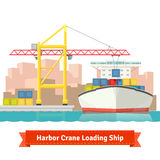 Container cargo ship loaded by big harbour crane. In the town port. Naval transportation concept. Vector flat style illustration Royalty Free Stock Photography