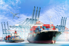 Container Cargo ship with ports crane bridge in harbor and Cargo plane Stock Images