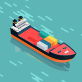 Container or Cargo Ship Sailing in the Sea. Vector Royalty Free Stock Image