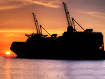 Container Cargo Ship Silhouette Stock Photo