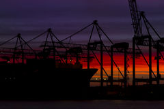Container Cargo Ship Silhouette Royalty Free Stock Photos