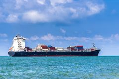 Container Cargo Ship. General Cargo Vessels. royalty free stock image