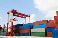 Container Cargo Ship Unloading royalty free stock photo