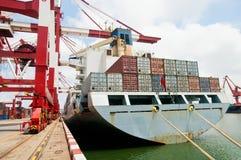 Container Cargo Ship Unloading Stock Photos