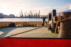 Container Cargo Ship with working crane bridge in shipyard background, Freight Transportation, Logistic Import Export background c. Oncept Royalty Free Stock Images