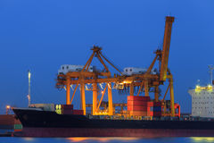 Container Cargo in twilight Royalty Free Stock Photos