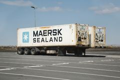 Container carrier trailers parked stock images