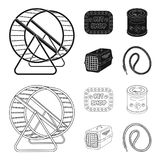 Container for carrying animals and other attributes of the zoo store. Pet shop set collection icons in black,outline stock illustration