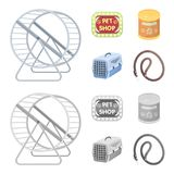Container for carrying animals and other attributes of the zoo store. Pet shop set collection icons in cartoon Royalty Free Stock Image