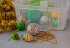 Container of  Christmas baubles and Christmas tree decorations Royalty Free Stock Image