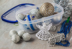 Container of  Christmas baubles and Christmas tree decorations Stock Photography