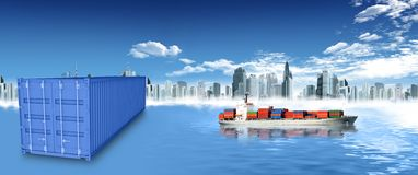 Container and city Stock Photos