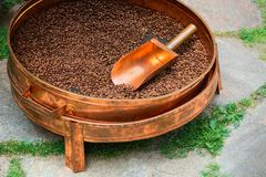 Container for coffee roasting Stock Photo