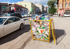 The container for collecting plastic bottles of various drinks f Royalty Free Stock Images