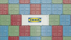 Container with Ikea corporate logo. Editorial 3D rendering. Container with company logo. Editorial rendering royalty free illustration