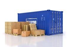 Container con le scatole di cartone e i palletes Fotografia Stock