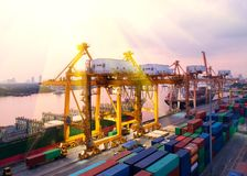 Container,container ship in import export and business logistic,. By crane,Trade Port , Shipping,cargo to harbor.Aerial view,Water transport,International,Shell Stock Images