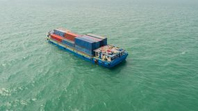 Container,container ship in import export and business logistic,. By crane,Trade Port , Shipping,cargo to harbor.Aerial view,Water transport,International,Shell Royalty Free Stock Image