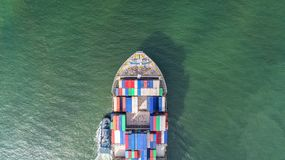Container,container ship in import export and business logistic,. By crane,Trade Port , Shipping,cargo to harbor.Aerial view,Water transport,International,Shell Royalty Free Stock Photo