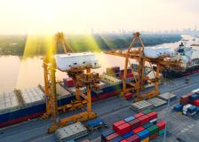 Container,container ship in import export and business logistic,. By crane,Trade Port , Shipping,cargo to harbor.Aerial view,Water transport,International,Shell Stock Image
