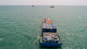 Container,container ship in import export and business logistic,. By crane,Trade Port , Shipping,cargo to harbor.Aerial view,Water transport,International,Shell Royalty Free Stock Photography
